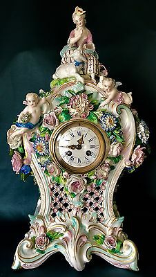 Antique French Vion&Baury Porcelain Mantel Clock