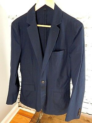 J. CREW Ludlow Blue Cotton Micro Check Sport Coat Jacket Blazer 36R