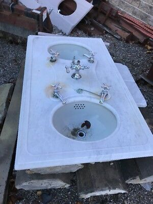 Antique Double Bowl Marble Top Sink Barber Beauty Shop Turn Of The Century