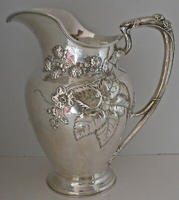 Gorham Modernic Hammered Nouveau Raspberry Vine Sterling Water Pitcher 1905