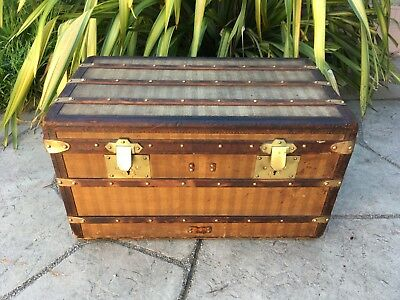 LOUIS VUITTON Antique Rayee Travel Wardrobe Steamer Trunk chest purse bag LV