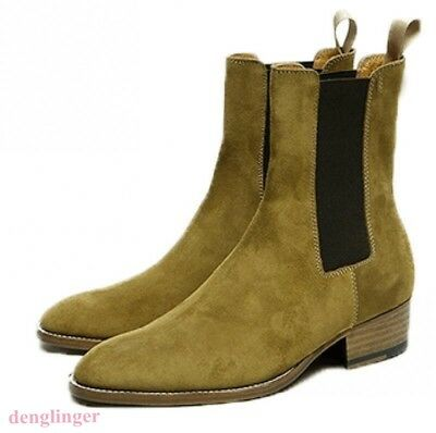 14e13b976a343 Mens Ankle Chelsea Boots Block Heel Leather Suede Shoes Pull On Elastic NEW  SIZE