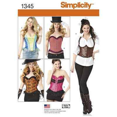 Simplicity Sewing Pattern 1345 Misses Corsets and Ruffled Shrug