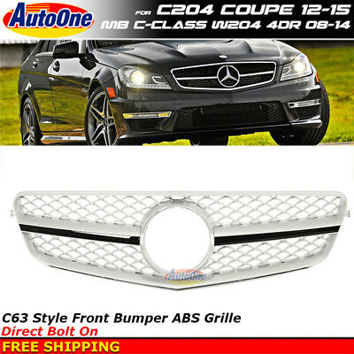 MB C-Class 08-14 W204 4Dr 12-15 2Dr Silver Black Front Radiator Hood Grille Trim