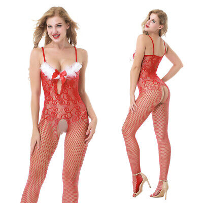 RED Womens-Sexy-Lingerie-Floral-Body stocking-Dress-Underwear-Babydoll-Christmas
