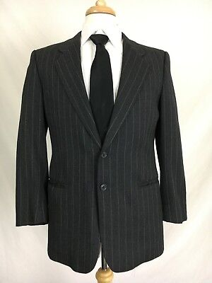 Lubiam Mens 2 Button Mens Blazer Sport Coat Jacket Wool Black Italy Made 40R