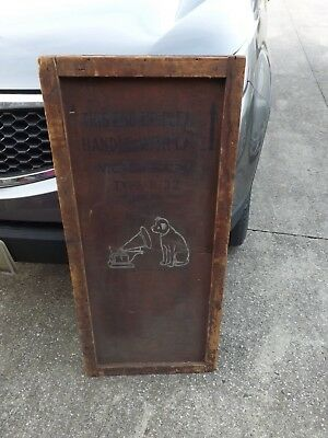 "RCA Victor Victrola Model R-32 Shipping Wooden Crate Box Section Sign 42"" x 19"""