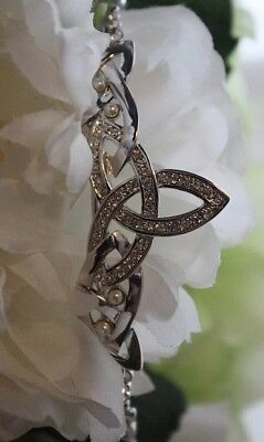 Made In Ireland Authentic Trinity Tiara Circlet White Gold Pearls Crystal New