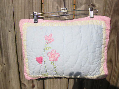 Pottery Barn Kids Flowers and hearts Small Nursery Crib Quilted Pillow Blue