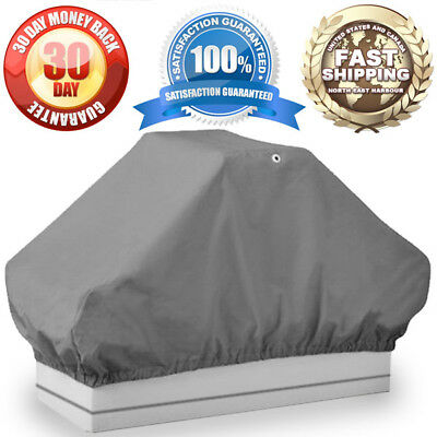 """50""""L x 22""""W x 22""""H Gray Boat Pontoon Double Seat Cover / Interior Storage Cover"""