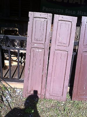 Vtg Pair 1800's Old  Wooden Window Shutters Architectural Salvage Screen 55 in