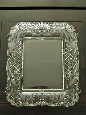 Ornate Art Nouveau Cast Glass & Frosted Details Floral Photo Frame...large Size