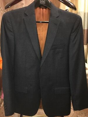 Joseph A Bank Men's Slim Fit Suit Grayish Blue Micro Check Already Tailored