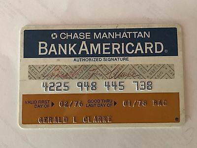 Vintage 1978 Chase Manhattan Bank Americard / Signed / FAST FREE SHIP!!