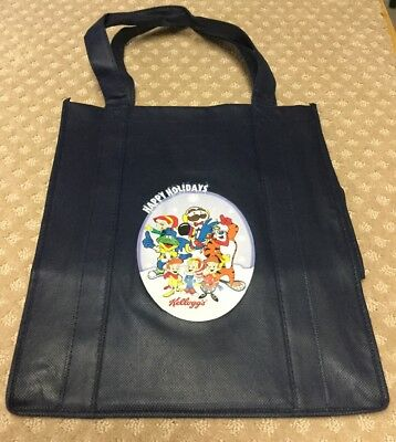 "Kellogg's, Keebler ""Gang"", WinterPhoto Happy Holidays Reusable Blue Tote Bag EUC"