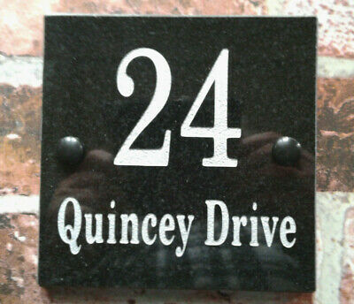 Deep engraved Granite plaque with the number of the house gate door 15 x 20 cm