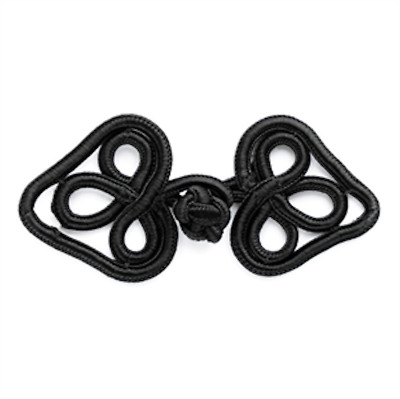 Black Double Curl Celtic Frog Fastener - 90mm