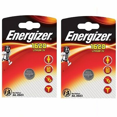 2 x Energizer 1620 CR1620 3V Lithium Coin Cell Battery DL1620 KCR1620 BR1620*
