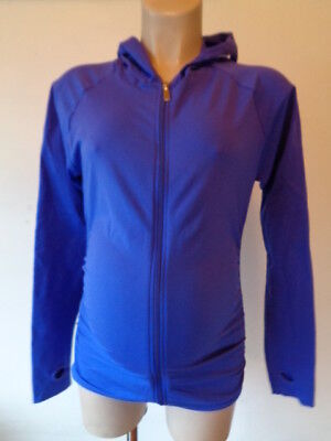 Bm Maternity Active Wear Purple Hooded Zip Jacket Gym Running Size L 12-14 New