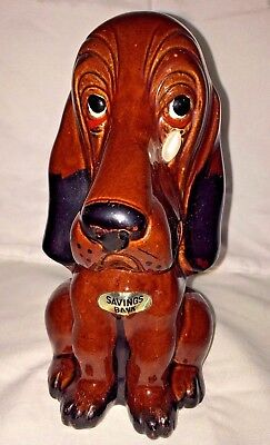 Vintage Enesco Sad Basset Hound Dog Bank Red Clay Pottery Teardrop