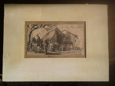 Stopping Place of the Gypsies 17th cent Engraving S. Savery after Jacques Callot