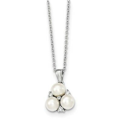 Sterling Silver 17in 5-6mm White FW Cultured 3-Pearl CZ Necklace