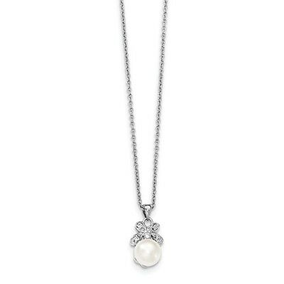 Sterling Silver 7-8mm White Freshwater Cultured Pearl CZ Pendant