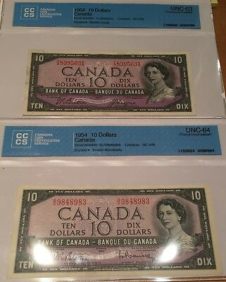 2 x Ch. Unc. 1954 $10 Banknotes, Different Signatures, Certified, Nice!!