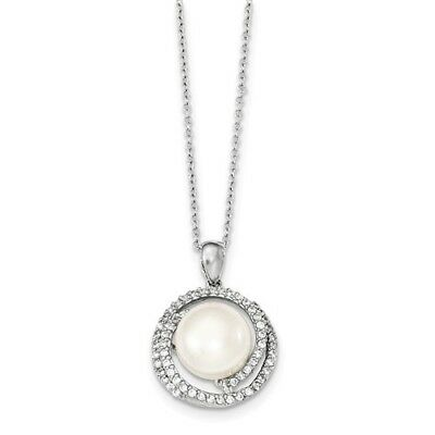 Sterling Silver 17in 11-12mm White FW Cultured Pearl and CZ Necklace