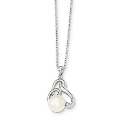 Sterling Silver 17in 8-9mm White FW Cultured Pearl CZ Chain Necklace Slide