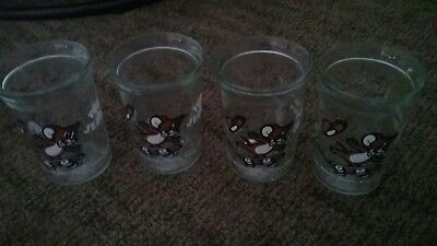 """Vintage 1990 """"Tom & Jerry"""" Welch's Jelly Jar/Glass (Set of 4 Featuring Jerry)"""