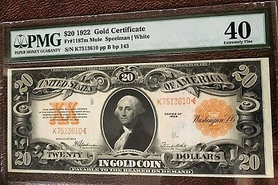 1922 $20 LARGE GOLD CERTIFICATE PMG40 EXTREMELY FINE  FR#1187m MULE NOTE