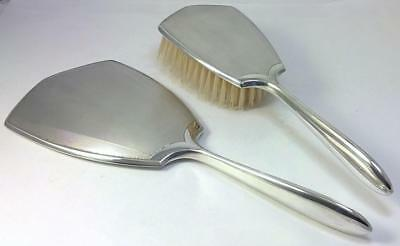 Vintage hallmarked Sterling Silver-backed Mirror and Hair Brush - 1985