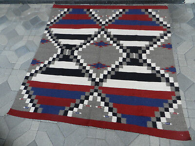 Beautiful Old Navajo Third Phase Chief's Blanket, With Blue & Arrows, Estate