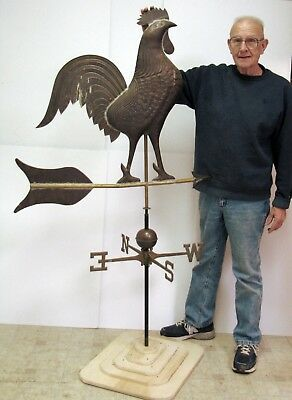 "Antique COPPER ROOSTER Weather Vane - Huge 67"" High - Came from Woodstock, CT"