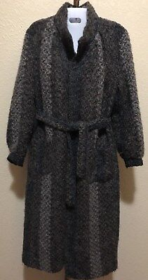 Vintage Womens Long Mohair Silk Lined Coat SZ S free shipping