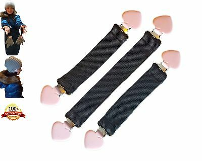 JJ's Elastic Mitten and Hat Clips for Kids (3 Clips)