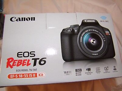 NEW Canon Rebel T6 18MP DSLR Wi-Fi Camera with 18-55 Lens & Strap and Bag NIB