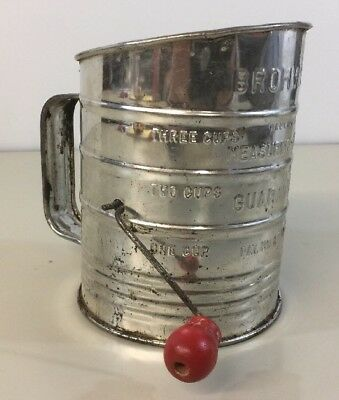 Bromwell's Measuring Flour Sifter With Red Wooden Handle Up to 3 Cups