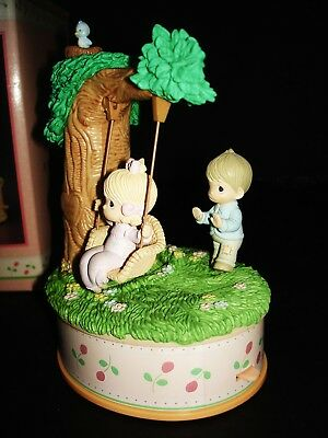 Precious Moments Love Is Kind Moving Music Box Boy Pushes Girl On Swing Mib