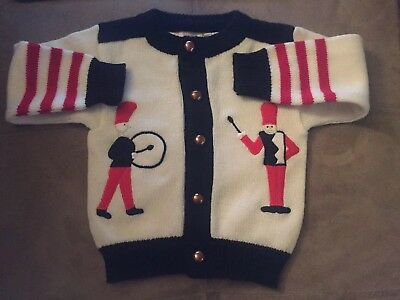 18 Month infants white red blackchristmas Sweater Full Fashioned Grand Knitwear