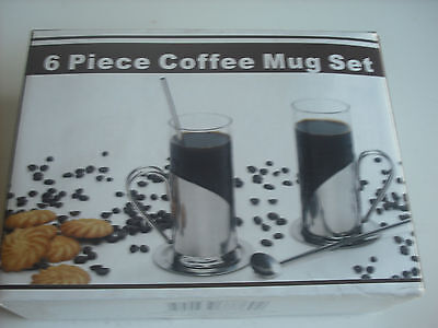 Cappuccino/Latte,coffee mugs new in box,with stainless steel trim.Ideal present