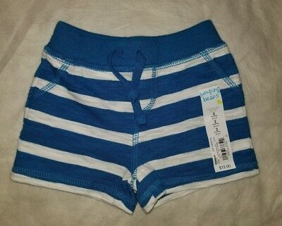 Infant Boys 3 Months jumping bean Blue and White Striped Shorts 100% Cotton New