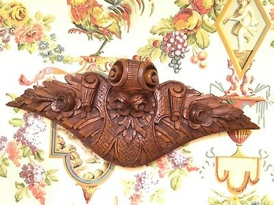 English Art Nouveau Carved Walnut Wood Bas Relief Panel Corbel Floral Circa 1900