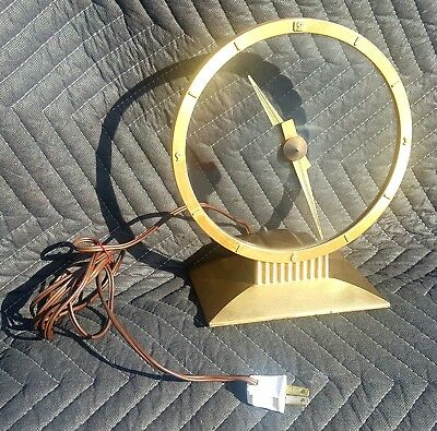 Vintage Mid Century 50s 60s Jefferson Golden Hour Mystery Clock Eames Working!
