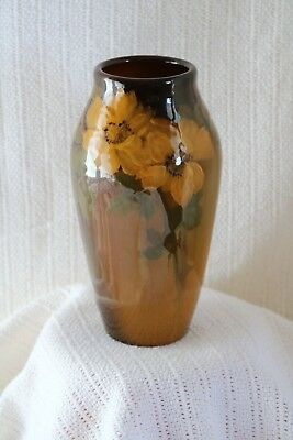 "Rookwood Pottery Artist Signed Carrie F Steinle 1904 925D 8"" Yellow Roses Vase"