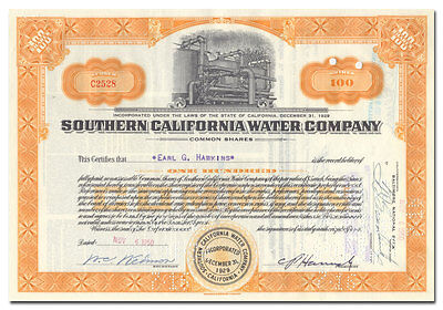 Southern California Water Company Stock Certificate
