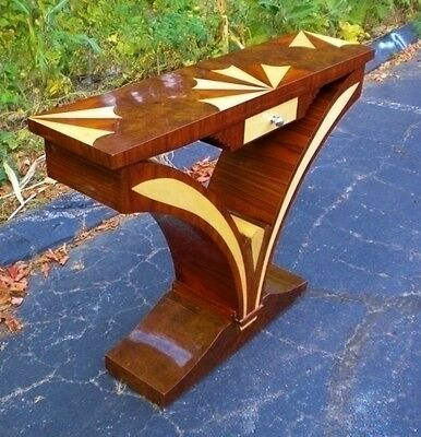 Splendid PURE Art Deco walnut console precious woods