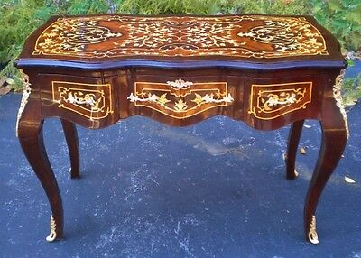 Louis XV Desk Bureau Plat Writing Table Marquetry Inlay