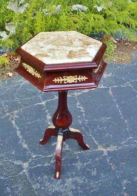 Beautiful LOUIS XV Style walnut MARBLE top side table
